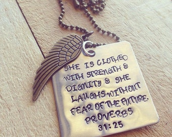 Hand Stamped Aluminum and Brass Necklace with Proverbs 31:25
