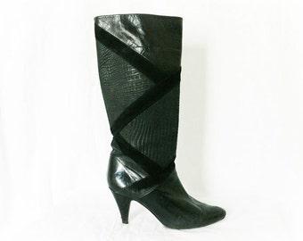 Vintage 80s Patchwork Black Gator Suede Leather Boots Heels 7.5 Nina Made in Spain