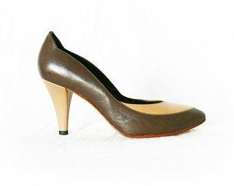 Vintage 80s Leather Pumps 6.5 Two-Toned Tan Brown Heels Art Deco Retro 40s