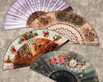 Digital Collage of Fans N2- 15 3x1,5 Inch JPG images - Digital Collage Sheet