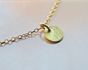 Tiny Gold Disc Charm Necklace. Layered Necklace. Vermeil. Tiny Gold Dot Necklace.Minimal.Initial Necklace.Disc Necklace.Simple.Everyday.Gift