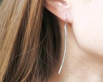 Long Silver Bar Earrings. Curved Bar Earrings. Dangle Earrings. Boho Chic. Modern Jewelry. Simple Earrings. Everyday Earrings. Minimalist.