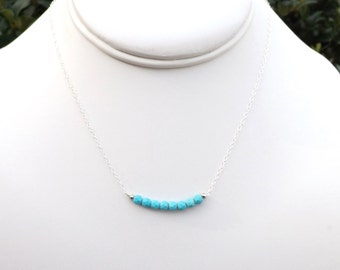 Sterling Silver Turquoise Necklace. Turquoise Necklace.Tiny Turquoise Beaded Necklace. Bar Necklace. Silver Necklace. Lariat.Statement.Gift