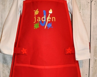 Custom Childrens Art Smock Boy  Girl Personalized