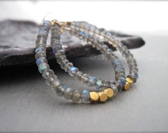 Labradorite and Gold Bead Gemstone Hoop Earrings, Blue Gray Gemstone Dangle Earrings, Beaded Hoop Earrings