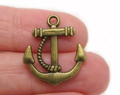 Charms : 10 Brass Ox Boat Anchor Charms | Antique Bronze Anchor Pendants | Ship Anchor Connectors ... Lead, Nickel & Cadmium Free J2K
