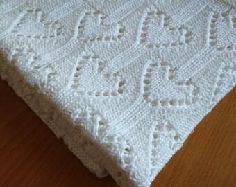 Knitted baby blanket-linen throw blanket-hand knit cotton blanket-cream blanket-white blanket-lace knit blanket-heart blanket-bassinet cover