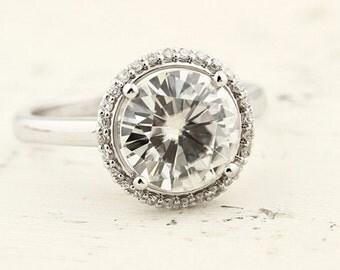 2.50ct  9mm  Forever Brilliant Moissanite Solid 14K White Gold  Halo-Styled  Engagement  Ring Gem966