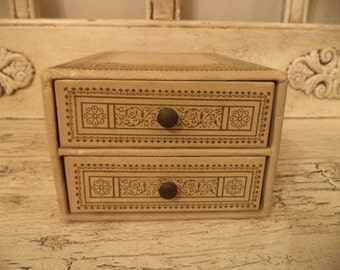 Small Vintage Jewelry Box - Faux Leather