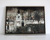 Mid Century Abstract Painting - Black and White Abstract Church Tree Scene - Colorful Original Artwork