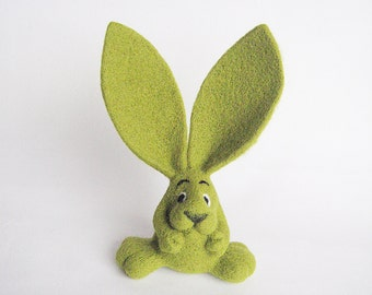 Olive green bunny Needle felted green rabbit sculpture Forest animal Friendship gift for her