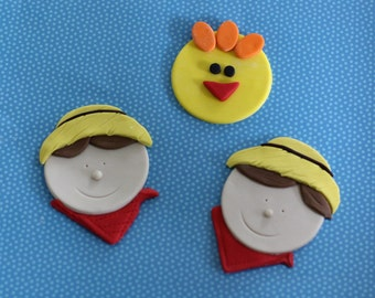 Fondant Farmer and Chicken Cupcake Toppers for Birthday Cupcakes, Cookies or Cakes