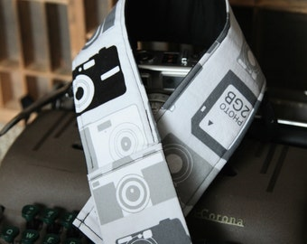 DSLR Padded Camera Strap Cover in black and grey hipster inspired camera print