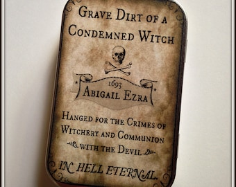 Hanged Witch - large tin pillbox / stash case