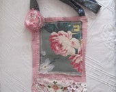 CUSTOM for RACHEL Upcycled Shabby Chic PEARL Magnolia Pink Crossbody Purse Tote with Barkcloth, Flower, Lace Crochet