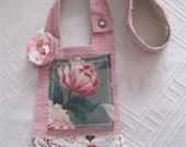 CUSTOM for RACHEL Mini Shabby Chic PEARL Magnolia Pink Crossbody Purse Tote with Barkcloth, Flower, Lace Crochet