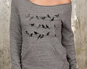 Women's Slouchy Sweatshirt - Birds and Power Lines - Alternative Apparel Maniac Sweatshirt