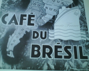 Vintage French Ad Cafe Brazil Coffee  1935