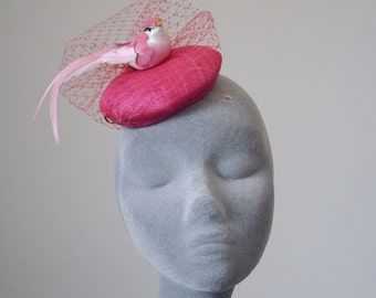 Pink Fascinator- Hot Pink Bird Fascinator-Large