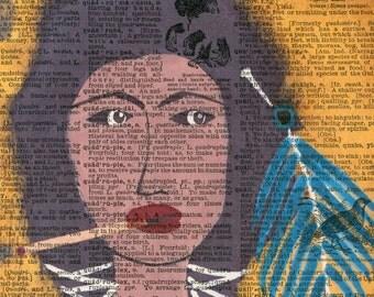 Smoking Native American Woman - Vintage Ephemera - Original Art  - Altered - Cathy DeLeRee