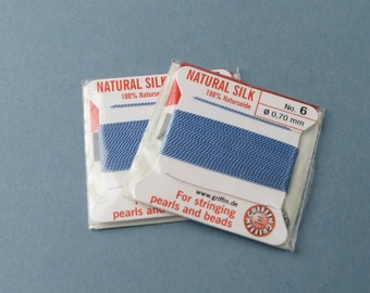 Natural Silk Cord With Needle - 2 packs - Size 6 - Medium Blue