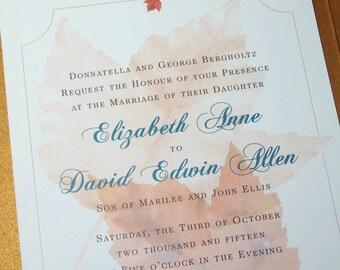 Fall Wedding Invitation Maple Leaves Copper Pocketfold Invite Autumn Wedding Pocket Rust Custom Wedding Invite
