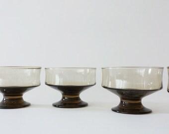 Vintage Mod Smoke Brown Glassware