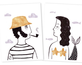 Set of two prints - Sea Lovers