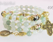 Rosary Bracelet Wrap,Green Aventurine Semi-precious,Mother's Day,Confirmation Gift,Bridal,Religious Jewelry,Catholic Gifts,Wedding,#498