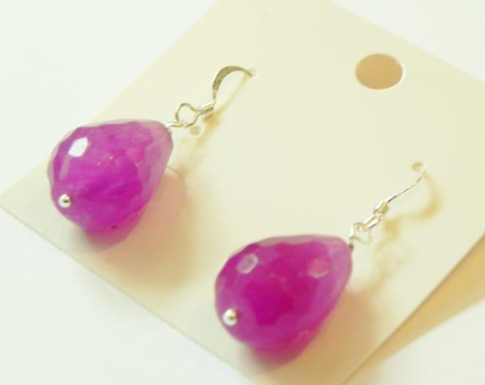 Pink/purple chalcedony gemstone drop sterling silver earrings