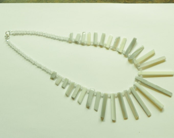 Statement gemstone necklace with grey agate and white agate. Gray