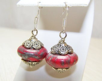 Red gray turquoise stone beaded chunky earrings