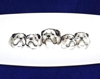 English Bulldog Long Sushi Plate - hand painted