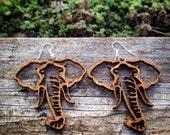 Large Wood Elephant Head Outline Earrings