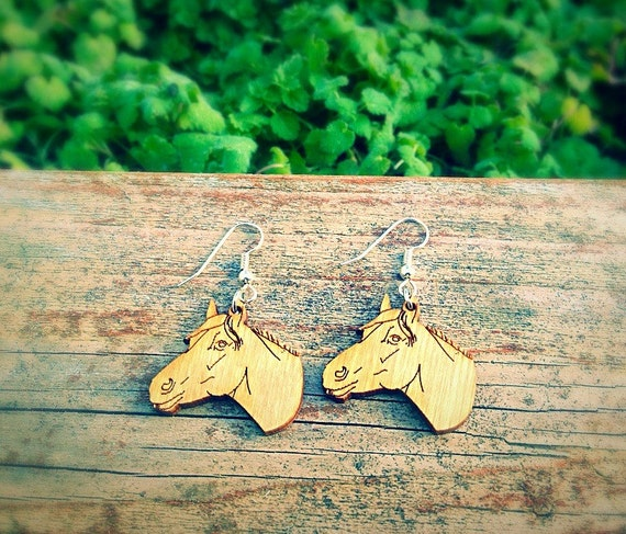 Wood Horse Head Earrings