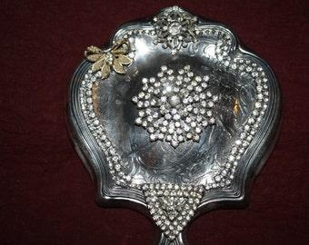 Vintage Hand Mirror Rhinestone Embellishments