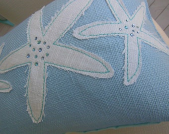 Starfish Jeweled Designer Lumbar Pillow - Iced Blue Starfish Decorative Pillow - Seaside Seashell Collection - 12 x 16 inch