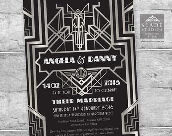 Great Gatsby 1920s Art Deco Wedding Invitation Set in Silver & Black. Printable Art Deco roaring 1920s Party Invitation, RSVP, Wedding Card