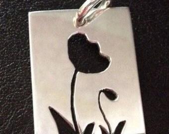 Silver Flower Poppy Cutout Pendant