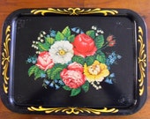Retro 50's Metal Serving Tray 1950's Tole Tray Mid Century Kitsch Dining and Serving