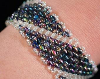 Metallic blues and pinks peyote superduo bracelet