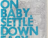 San Francisco Real Letterpress / Ramble On Baby. Settle Down Easy. / Letterpress Print on Antique Atlas Page