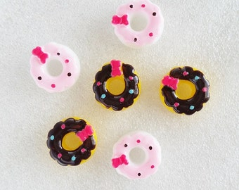 6pcs - Confetti Sprinkled Donuts Decoden Cabochon (14mm) DN10006