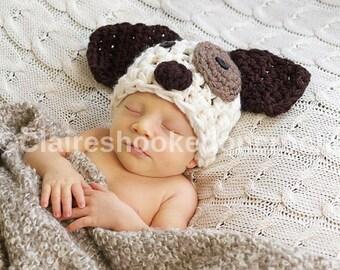Baby Dog hat, crochet beanie, 0-3 months size, newborn photography prop, baby gift.