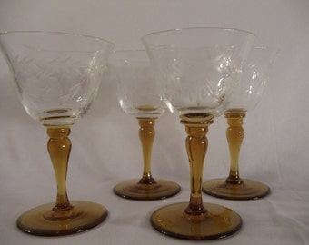 Amber Stems Etched Cordial Glassware Set of 4