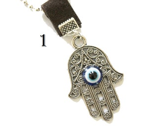 Hamsa necklace, Hamsa charm necklace, evil eye charm necklace, evil eye, silver hamsa, hamsa charm