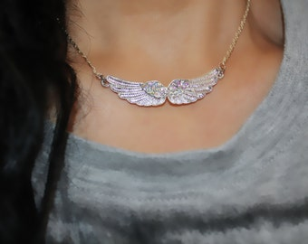 wings charm necklace, silver wings, wings of love, angel's wings charm necklace, angel wings necklace