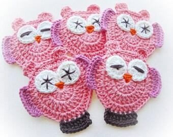 Salmon Base Mimis Crochet Owls-Set of 5