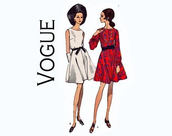 1960s Vogue Dress Size 16 Bust 38 Sewing Pattern Vogue 7474 Flared Skirt with Full Sleeves or sleeveless Vintage Vogue Sewing Pattern