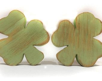 Clover - Shamrock, St Patricks Day Home Decor, Lucky Wooden Irish Clovers, Shamrocks Set of 3 for Your Holiday Shelf Decor